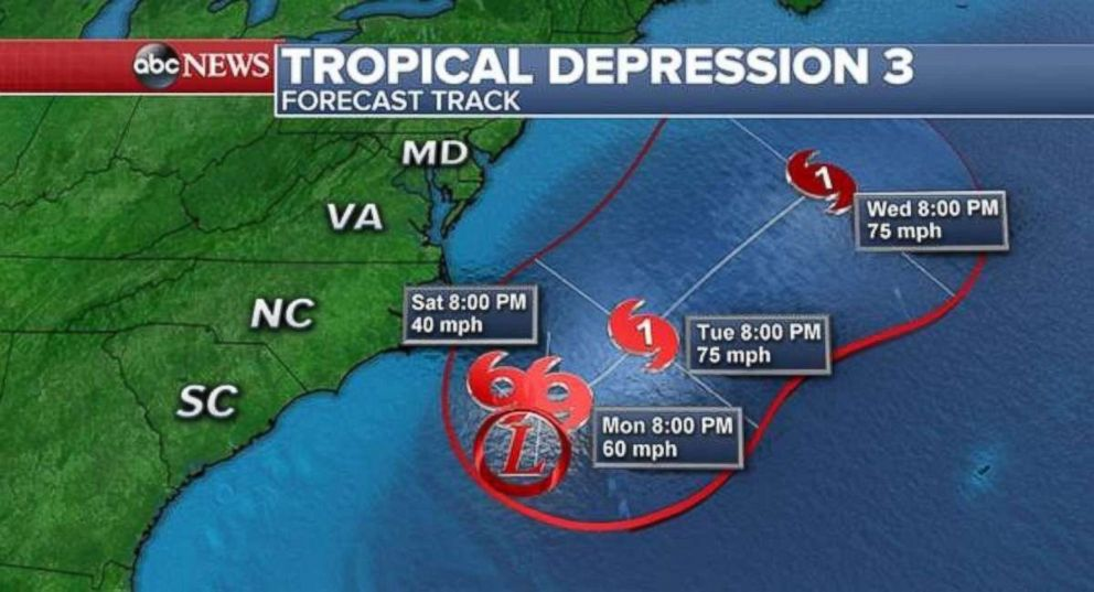 Tropical Depression 3 will stay off the East Coast.