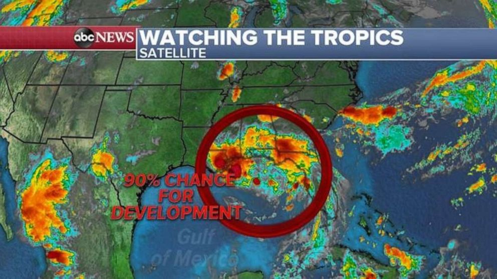 PHOTO: There is a 90% chance for development into a tropical depression in the Gulf.