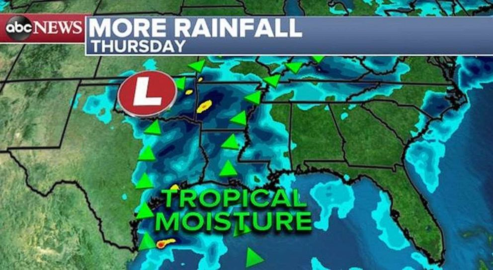 PHOTO: Rain will arrive in the already waterlogged Gulf and Southern Plains later this week.