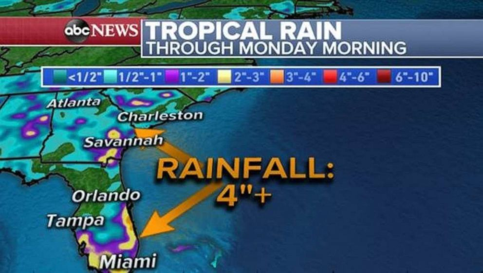 PHOTO: Rainfall could reach over 4 inches in parts of Florida and Georgia through Monday.