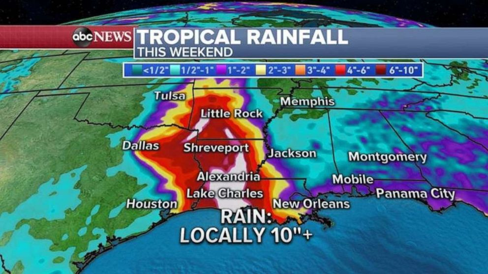 PHOTO: Heavy rain will fall in the Lake Charles, La., area and north up into Arkansas over the weekend.