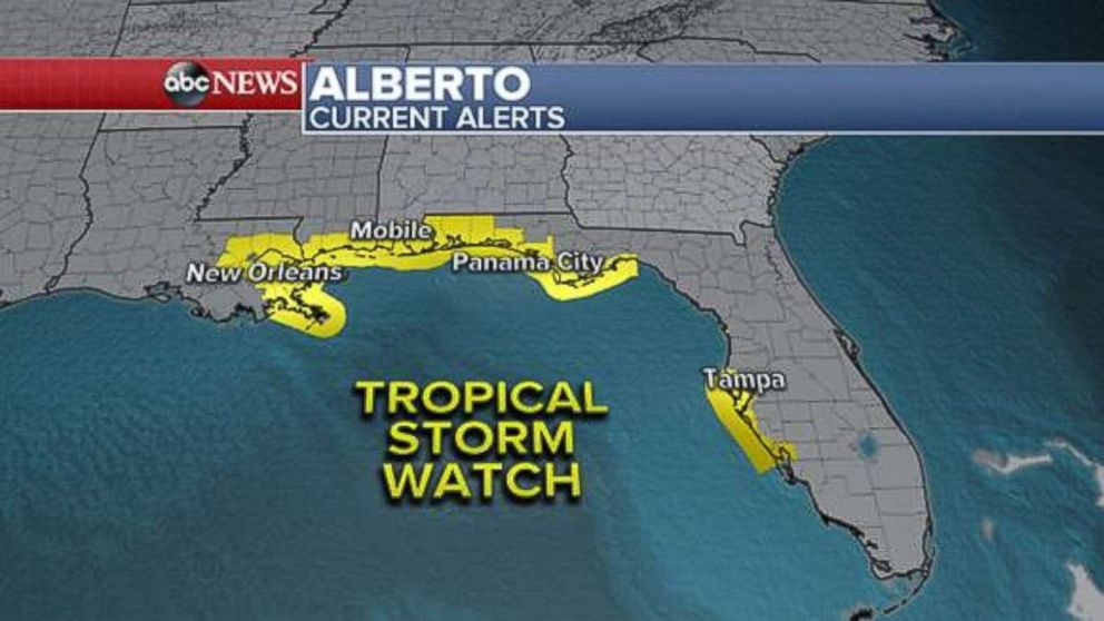 PHOTO: Tropical Storm Watch, Subtropical Storm Alberto Current Warnings