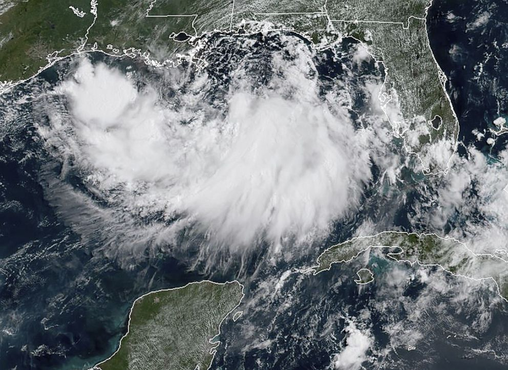 PHOTO: This satellite image obtained from NOAA/RAMMB, shows tropical storm Barry in the Gulf of Mexico, on July 11, 2019, at 11:40am local time.