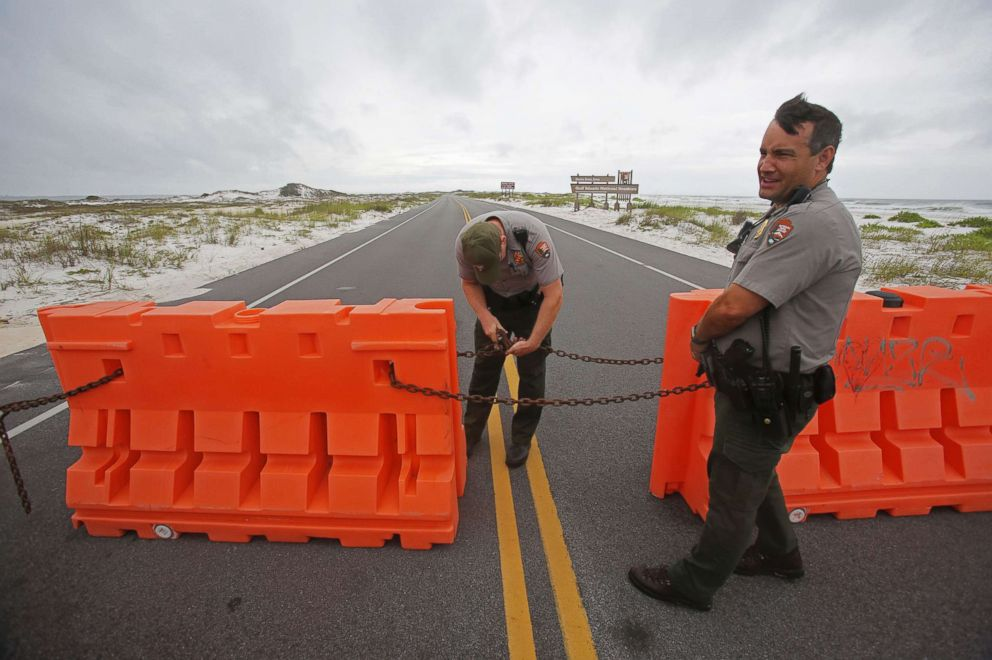 PHOTO: Rangers with the the National Park Service close off the Highway 399 through Gulf Islands National Seashore as a subtropical storm makes landfall, May 28, 2018 in Pensacola, Fla.