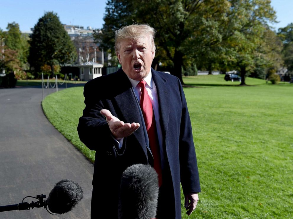 PHOTO: President Donald Trump talks to the media on the South Lawn upon his return to the White House, Nov. 3, 2019.