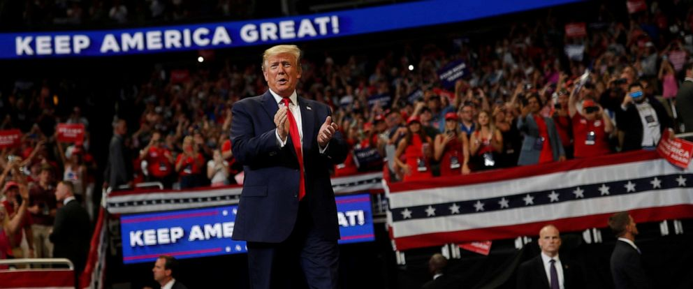 PHOTO: President Donald Trump reacts on stage formally kicking off his re-election bid with a campaign rally in Orlando, Fla., June 18, 2019.