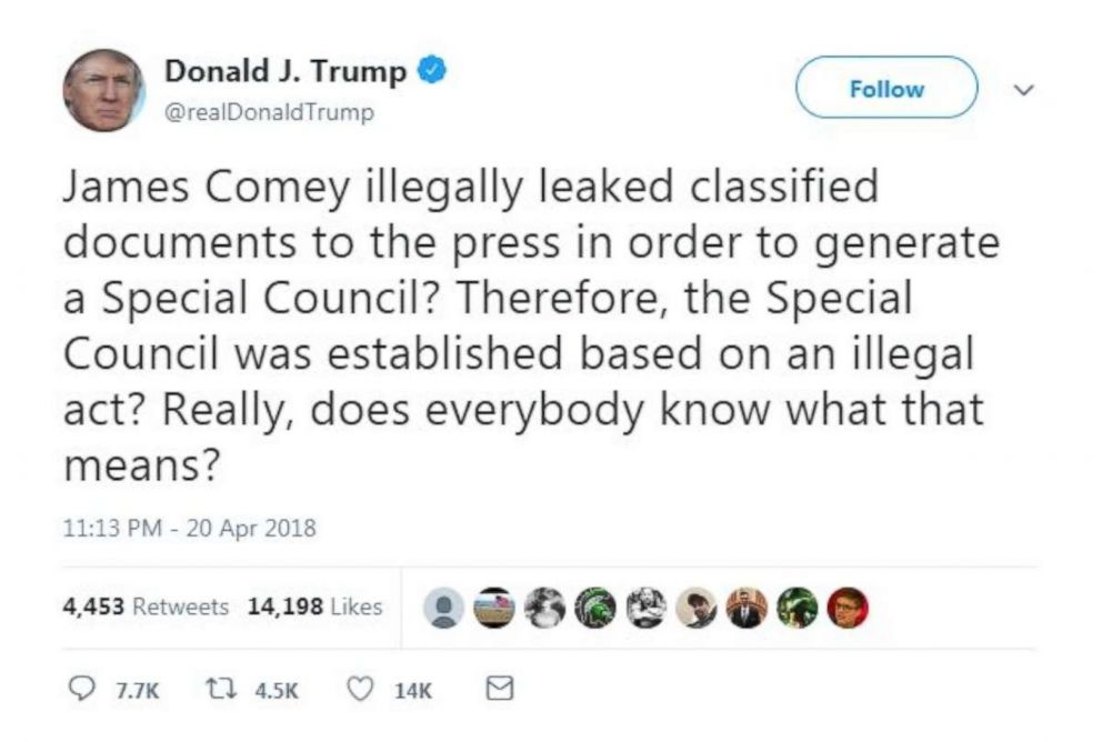 Trump attacked former FBI Director James Comey in a tweet on Friday, April 20, 2018, but spelled counsel wrong twice.