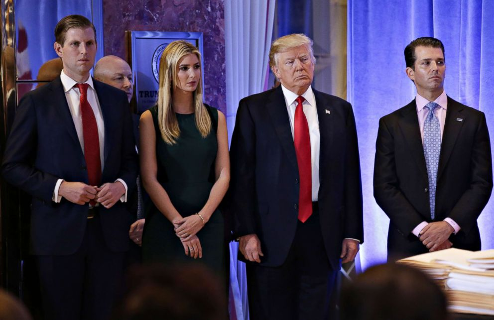 PHOTO: President-elect Donald Trump stands with, left to right, Eric Trump, Ivanka Trump, and Donald Trump Jr. before he speaks at a press conference at Trump Tower in New York City, Jan. 11, 2017.