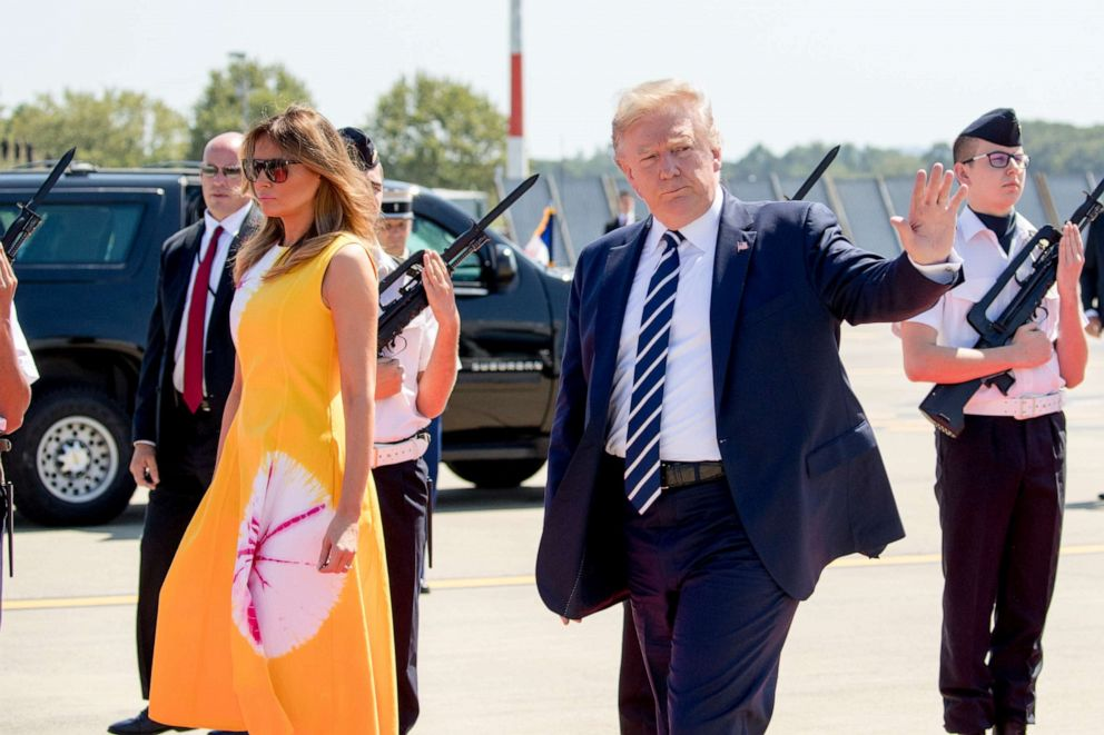 PHOTO: President Donald Trump and first lady Melania Trump arrive in Biarritz, France, Saturday, Aug. 24, 2019, for a G-7 summit.