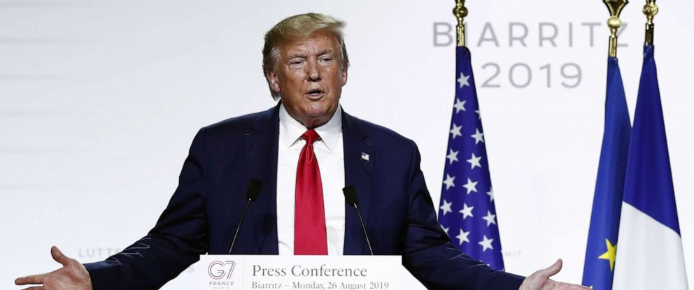 PHOTO: President Donald J. Trump speaks during a press conference on the closing day of the G7 summit in Biarritz, France, August 26, 2019.