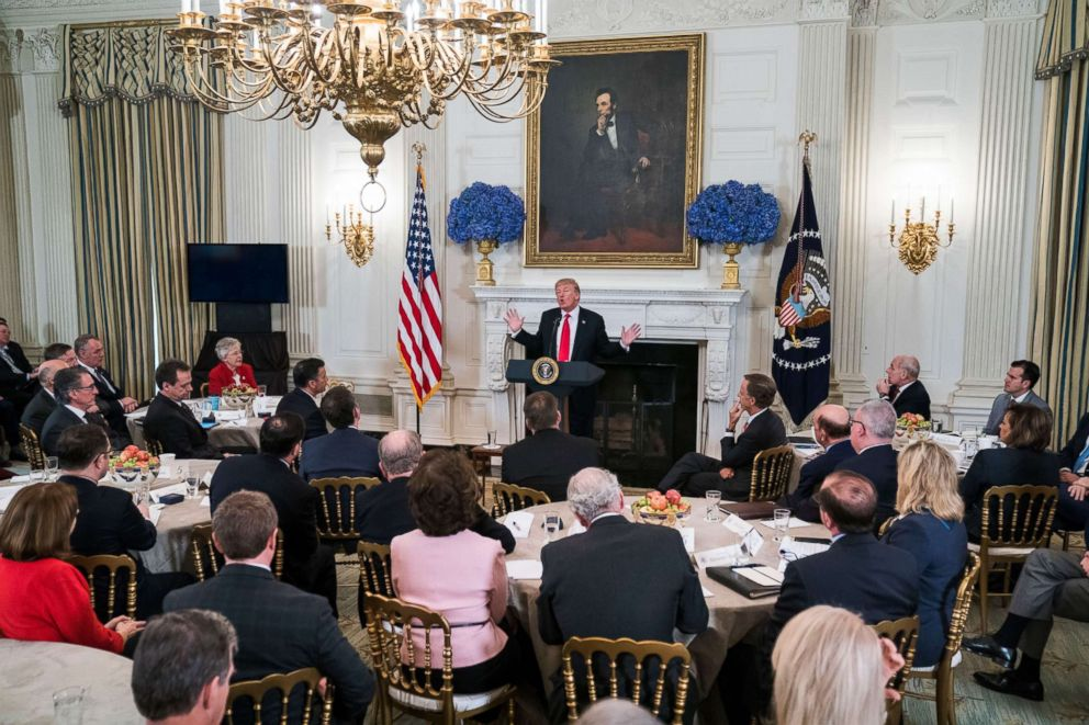 President Donald Trump speaks about ways to combat mass shootings at high schools during a meeting with the nation's governors at the White House on Feb. 26, 2018.