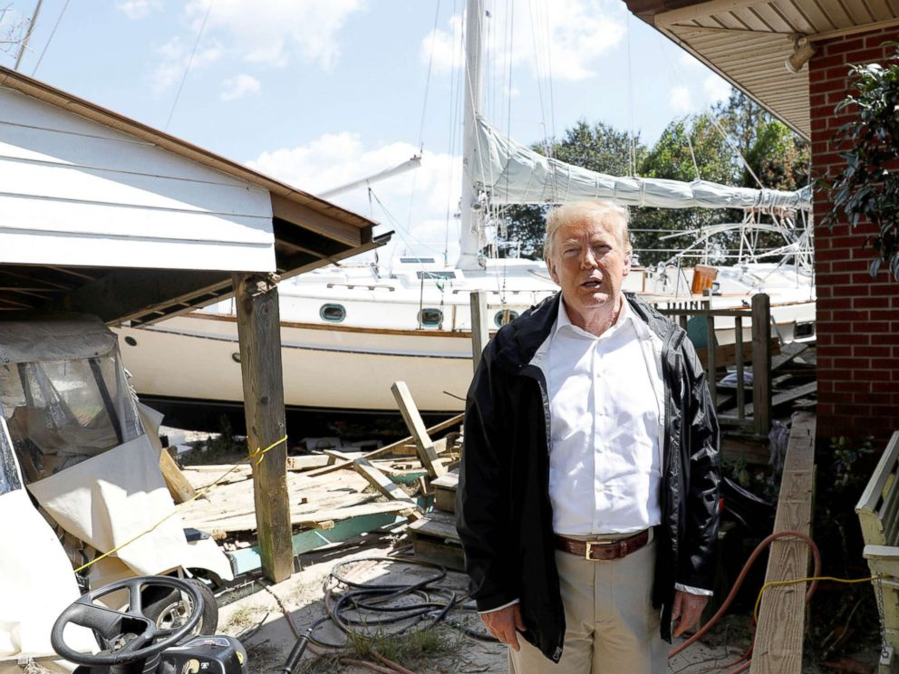 PHOTO: President Donald Trump tours Hurricane Florence damage in New Bern, N.C., Sept. 19, 2018.