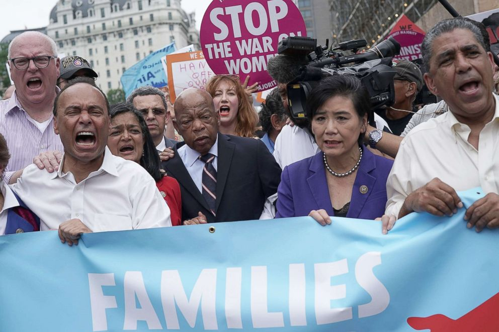 PHOTO: U.S. Rep. Joseph Crowley, Rep. Luis Gutierrez, Rep. Pramila Jayapal, Rep. John Lewis and Rep. Judy Chu march to the headquarters of U.S. Customs and Border Protection during a protest, June 13, 2018, in Washington, DC.