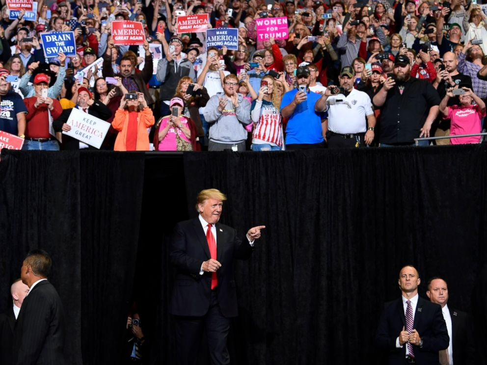 PHOTO: President Donald Trump arrives to speak at a rally in Council Bluffs, Iowa, Tuesday, Oct. 9, 2018.