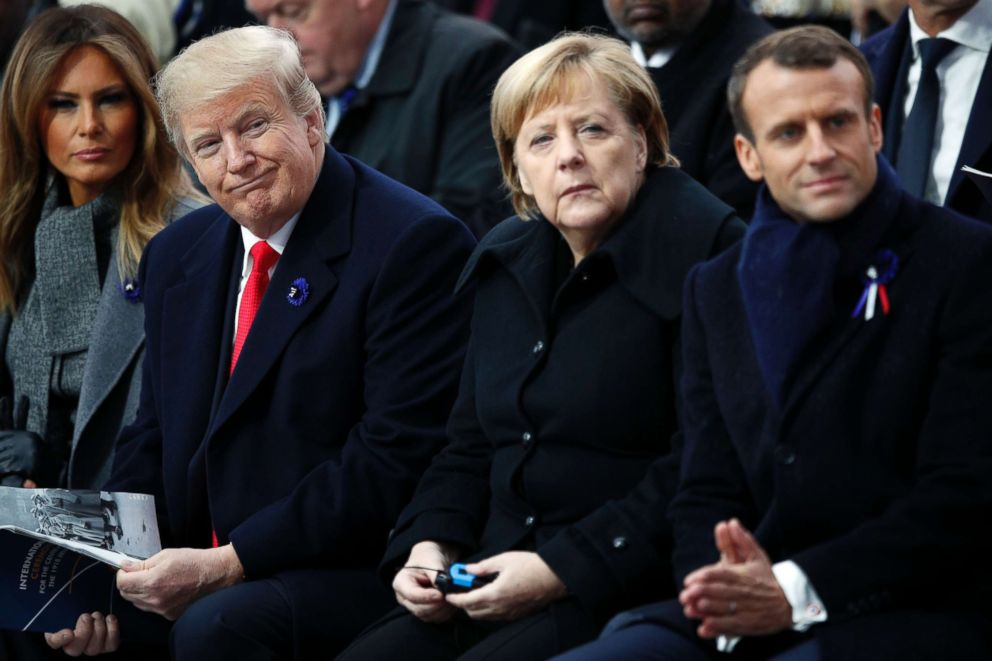 PHOTO: President Donald Trump, German Chancellor Angela Merkel and French President Emmanuel Macron attend ceremonies at the Arc de Triomphe, Nov. 11, 2018, in Paris.