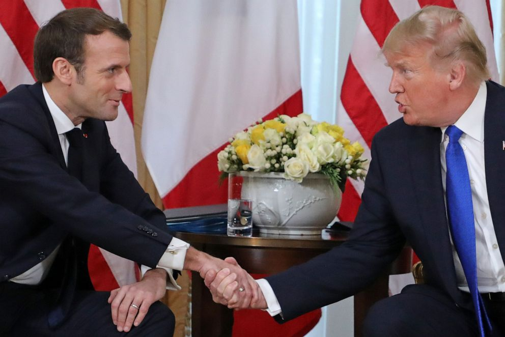 PHOTO: President Donald Trump and Frances President Emmanuel Macron shake hands during their meeting at Winfield House, London, Dec. 3, 2019.