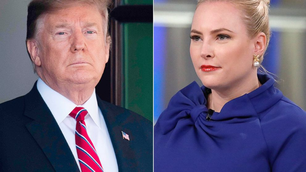 "President Donald Trump waits to welcome Brazilian President Jair Bolsonaro to the White House, March 19, 2019. Meghan McCain on ""The View."""