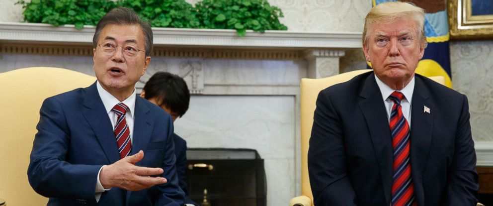 South Korea and the U.S. have begun discussions to end joint military drills that anger North Korea. In this photo, President Donald Trump meets with South Korean President Moon Jae-In in the Oval Office on May 22.