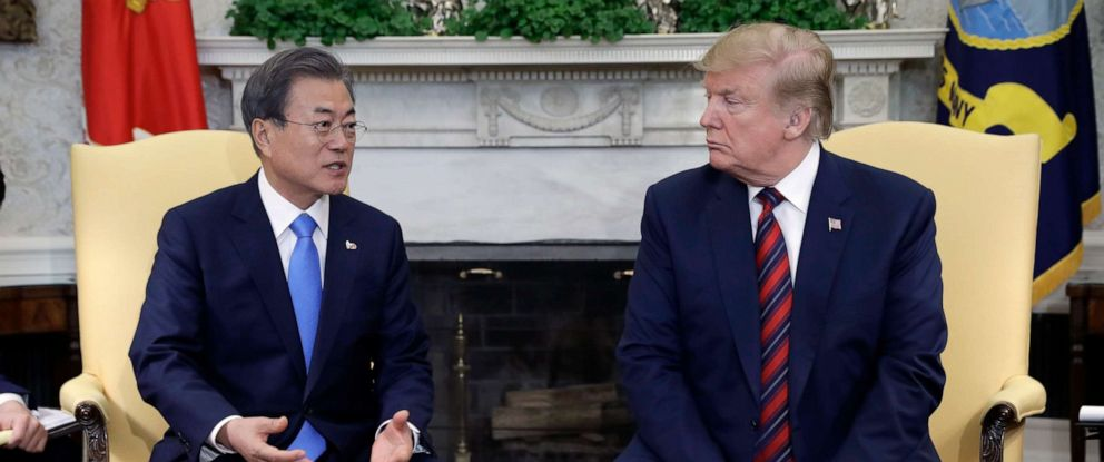 PHOTO: President Donald Trump meets with South Korean President Moon Jae-In in the Oval Office of the White House, April 11, 2019, in Washington.