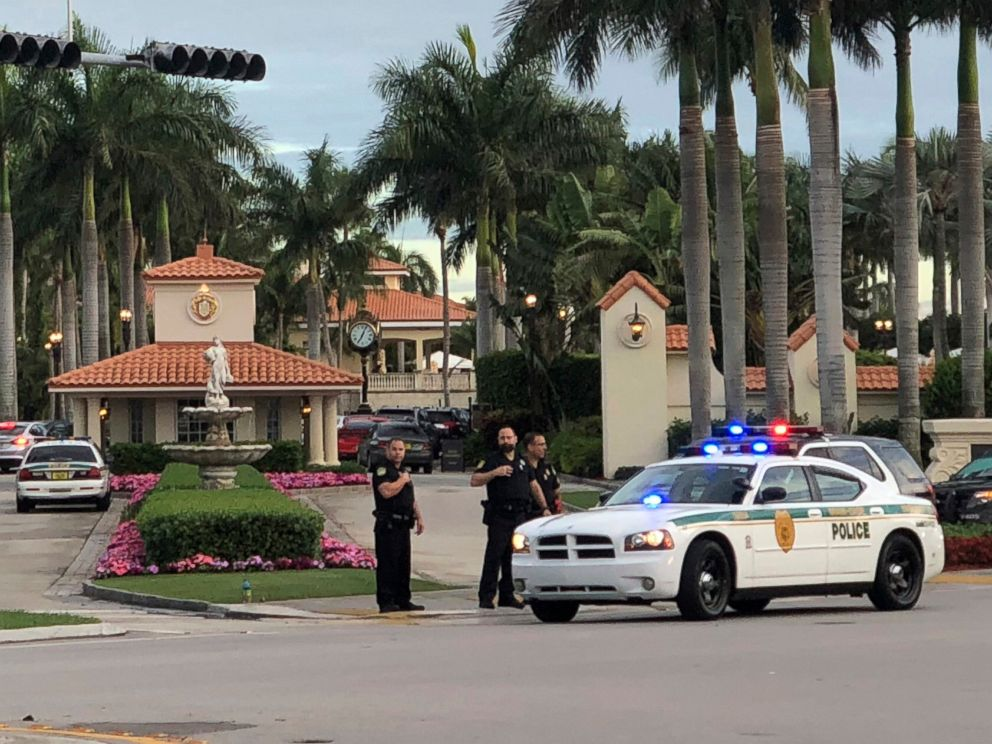 PHOTO: Police respond to The Trump National Doral resort after reports of a shooting inside the resort, May 18, 2018 in Doral, Fla.