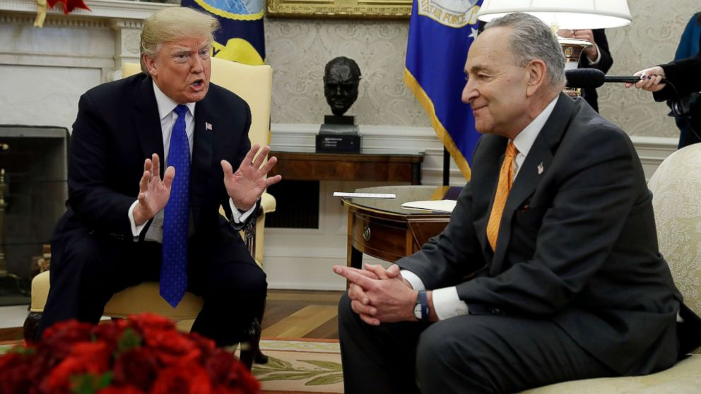 President Donald Trump meets with Senate Minority Leader Chuck Schumer and House Minority Leader Nancy Pelosi, not shown, in the Oval Office of the White House, Dec. 11, 2018, in Washington.