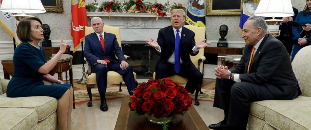 PHOTO: President Donald Trump and Vice President Mike Pence meet with Senate Minority Leader Chuck Schumer abd House Minority Leader Nancy Pelosi in the Oval Office of the White House, Dec. 11, 2018, in Washington.
