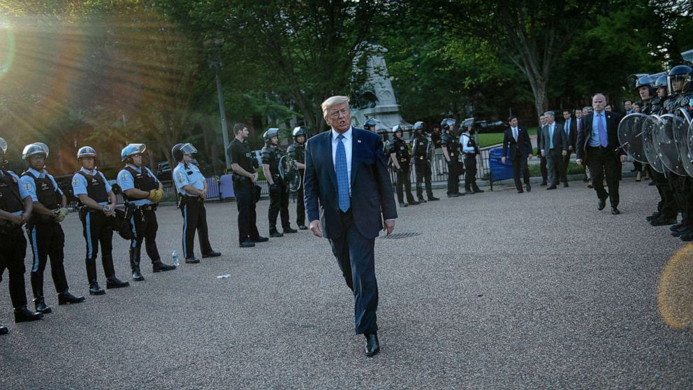PHOTO: President Donald Trump leaves the White House on foot to go to St John's Episcopal church across Lafayette Park for a photo-op, in Washington, D.C., June 1, 2020, after police cleared the area of demonstrators.
