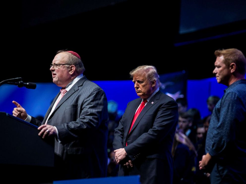 PHOTO: Rabbi Benjamin Sendrow leads a prayer alongside President Donald Trump and Pastor Thom OLeary, at the 91st Annual Future Farmers of America Convention and Expo, in Indianapolis, Indiana.