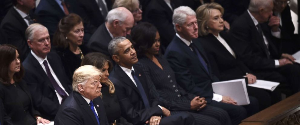 PHOTO: President Donald Trump, along with former presidents and their wives, attend the funeral service for former President George H. W. Bush, Dec. 5, 2018.