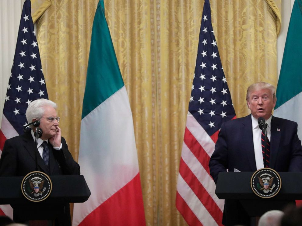 PHOTO: President Donald Trump speaks during a news conference with the Italian President Sergio Mattarella at the White House in Washington, Oct. 16, 2019.