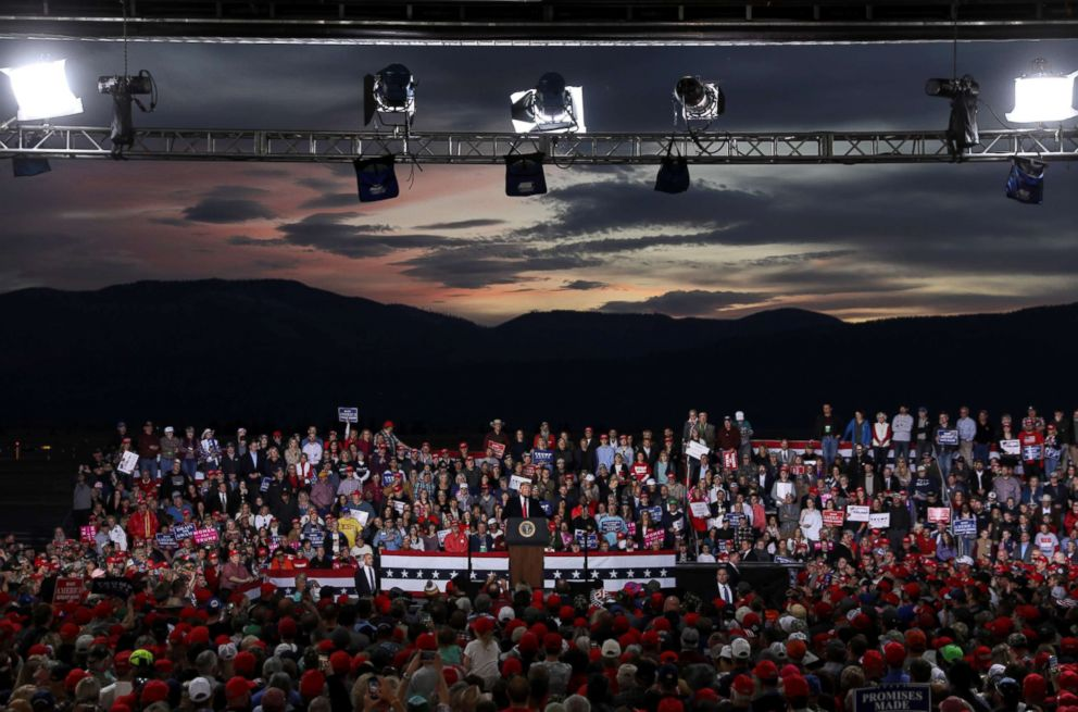 PHOTO: President Donald Trump speaks during a campaign rally at Missoula International Airport in Missoula, Mont., Oct. 18, 2018.