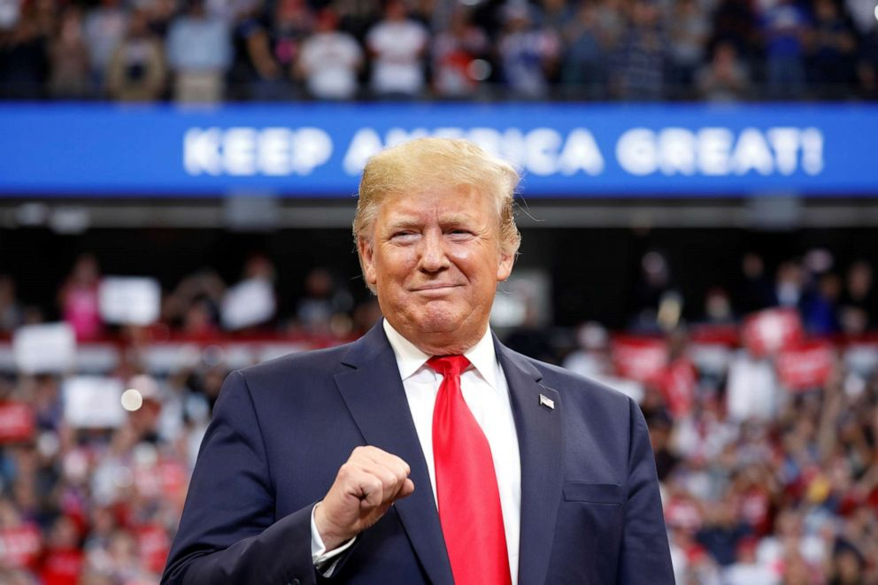 PHOTO: President Donald Trump delivers remarks at a Keep America Great Rally at the Rupp Arena in Lexington, Kentucky, Nov. 4, 2019.