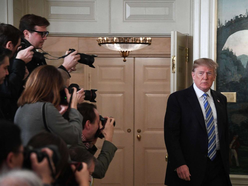 PHOTO: President Donald Trump arrives to speak on the Florida school shooting, in the Diplomatic Reception Room of the White House, Feb. 15, 2018 in Washington, D.C.