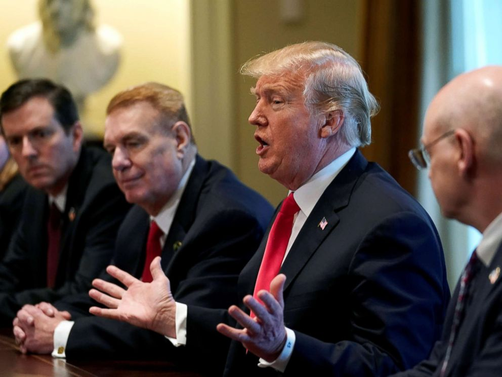 PHOTO: President Donald Trump announces the U.S. will impose tariffs of 25 percent on steel imports and 10 percent on imported aluminum during a meeting at the White House in Washington, D.C., March 1, 2018.
