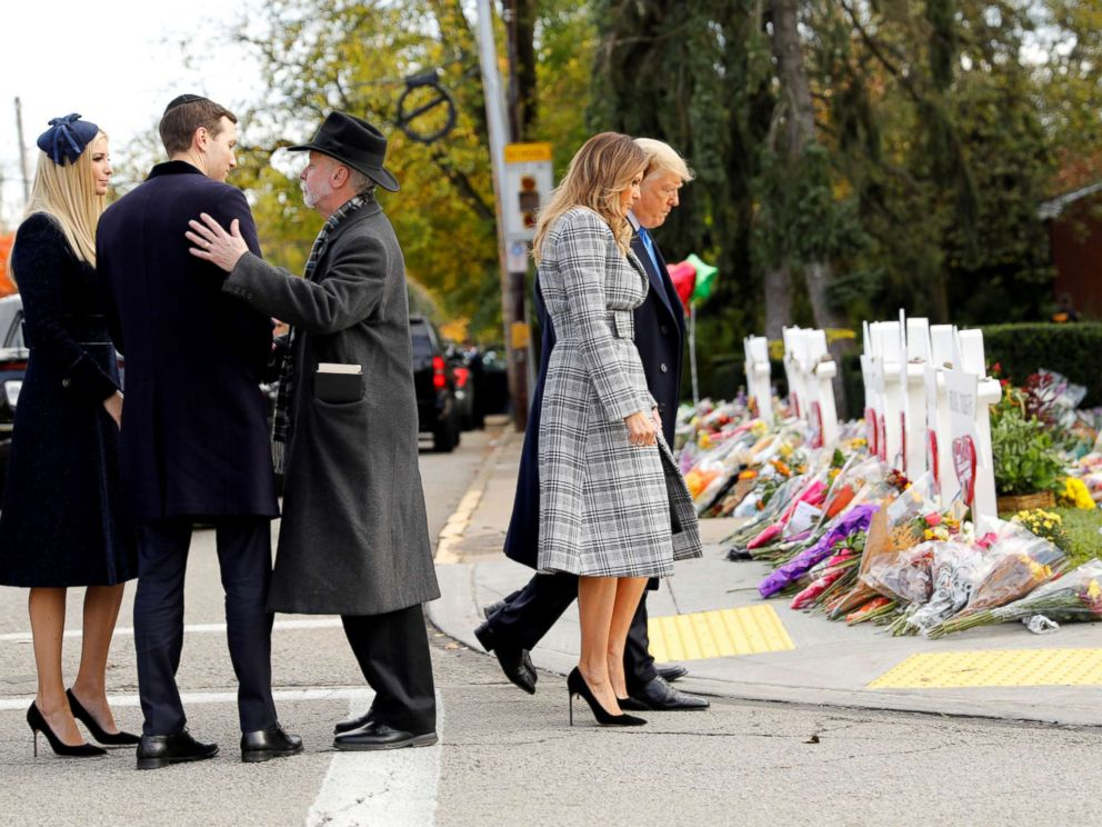 PHOTO: President Donald Trump and first lady Melania Trump pay their respects outside the Tree of Life synagogue in Pittsburgh, Pennsylvania, Oct. 30, 2018.