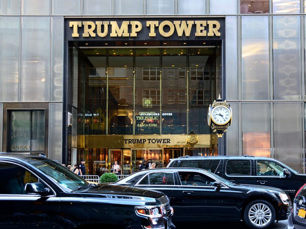 PHOTO: Black limousines pass in front of Trump Tower on Fifth Avenue in New York, New York.