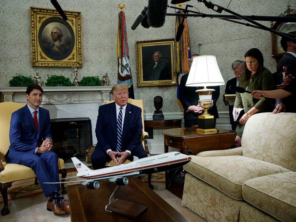 PHOTO: President Donald Trump meets with Canadian Prime Minister Justin Trudeau in the Oval Office of the White House on June 20, 2019, in Washington.