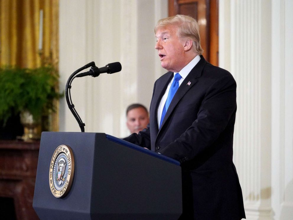 PHOTO: President Donald Trump speaks during a post-election press conference in the East Room of the White House in Washington, Nov. 7, 2018.