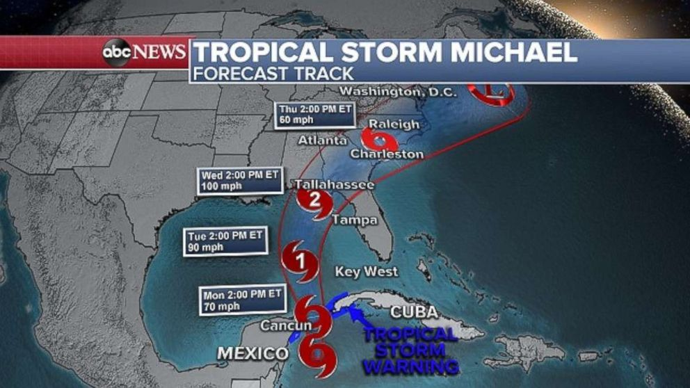 PHOTO: Tropical Storm Michael is predicted to make landfall somewhere along the Florida Panhandle in the middle of the week.