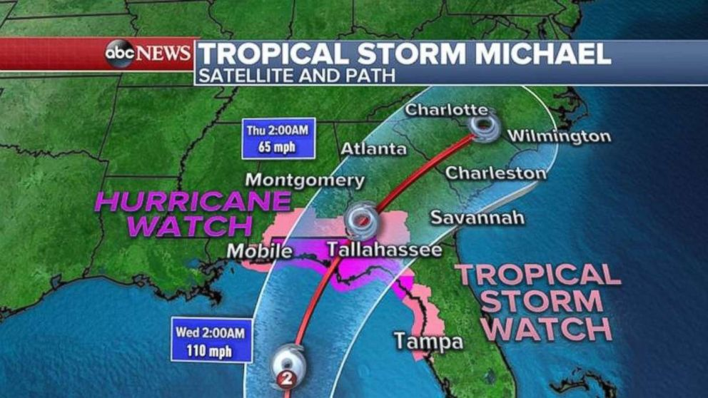 PHOTO: A hurricane warning and tropical storm watch are in place ahead of Michaels arrival.