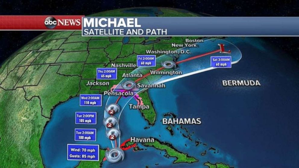 PHOTO: Michael is expected to make landfall on Wednesday and move through the Southeast at the end of the week.