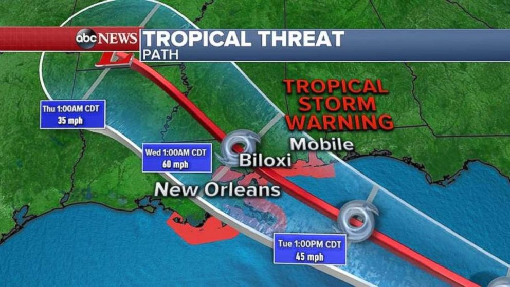 A tropical storm warning is in place from the Florida-Alabama border west to Louisiana.