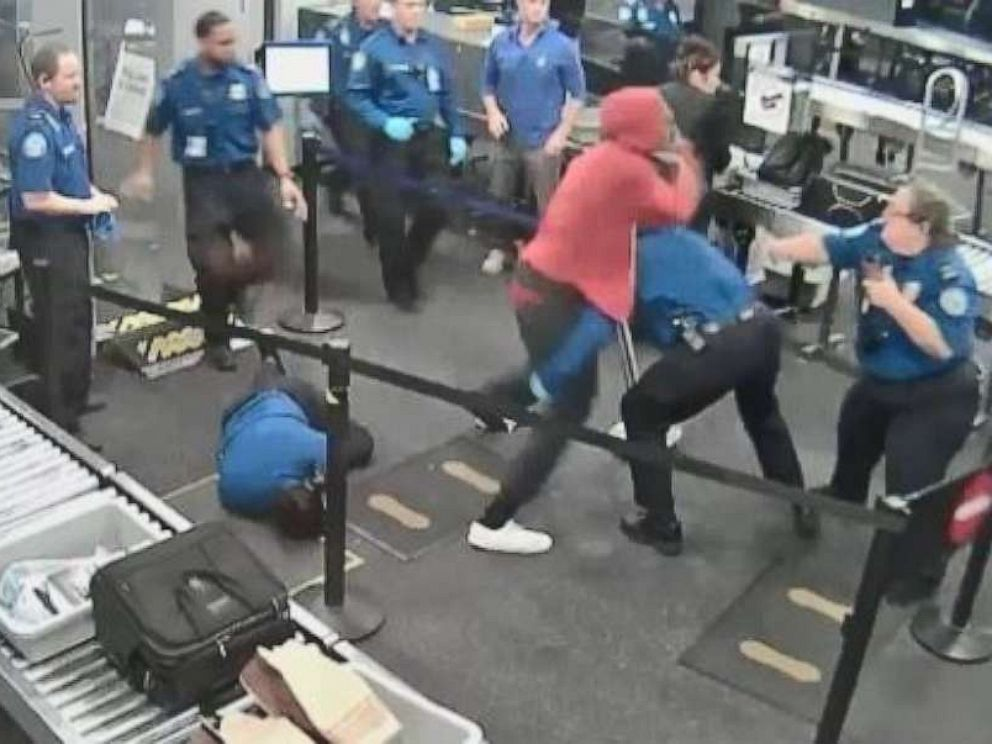 PHOTO: A 19-year-old man is seen in surveillance footage fighting a group of TSA agents at Phoenix Sky Harbor International Airport on Tuesday, June 18.