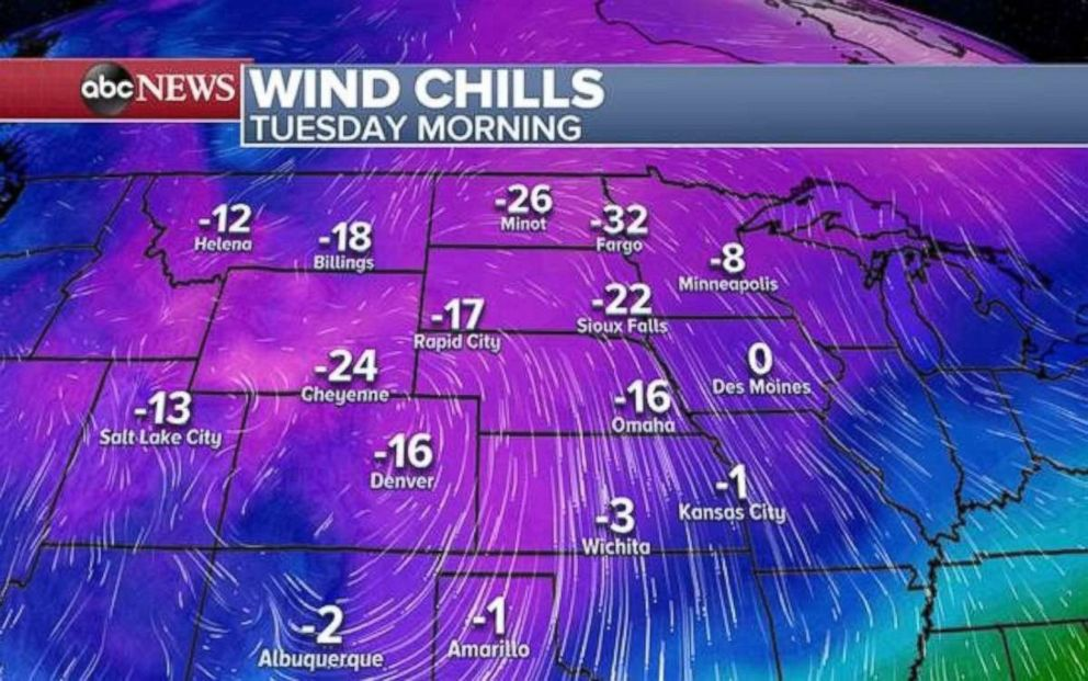 PHOTO: The coldest air of the season will move into the central U.S. on Tuesday after the storm moves through.