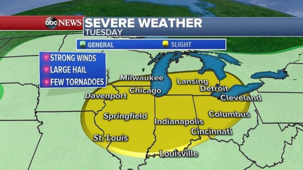 PHOTO: Severe weather could hit any of a number of major cities in the Midwest on Tuesday.