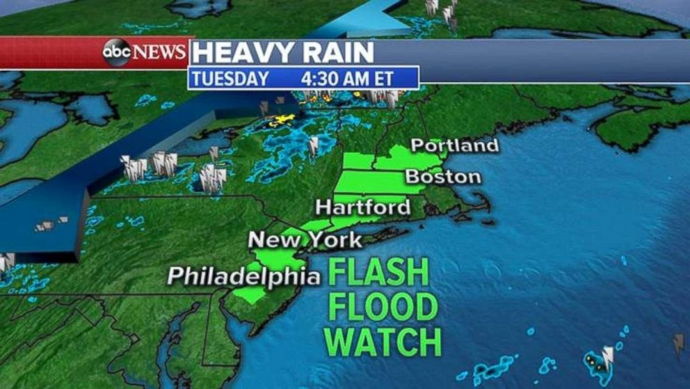 A flash flood watch is in place along the I-95 corridor on Tuesday