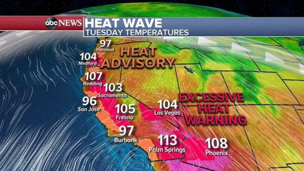 PHOTO: Heat advisories and excessive heat warnings are in place in the West for Tuesday.