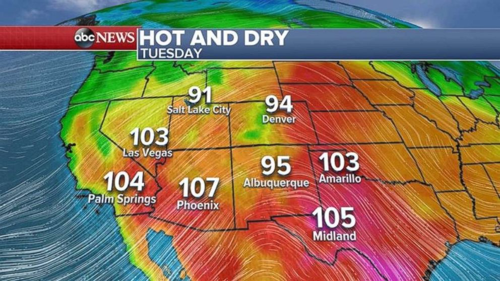 Temperatures will again be over 100 degrees in Arizona, Southern California and southern Nevada on Tuesday.