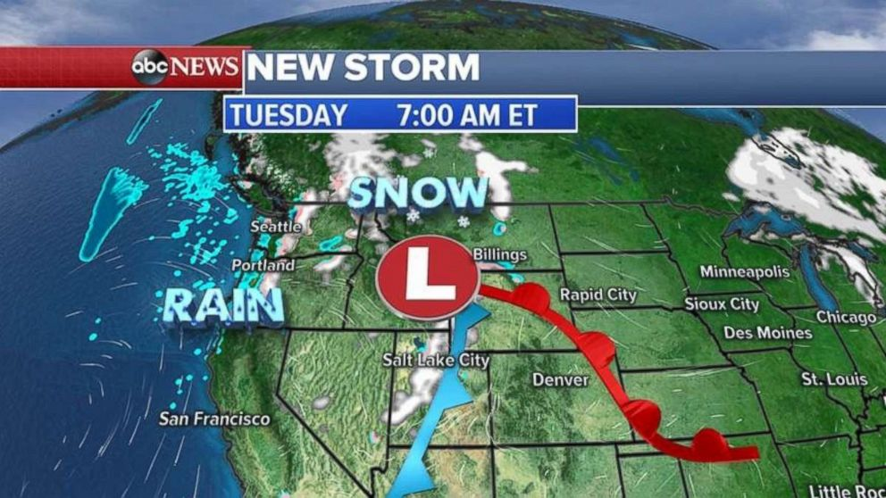 The storm is moving into the Rockies on Tuesday morning