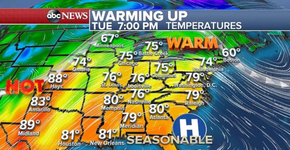 The Northeast and Midwest will be feeling the spring warmth beginning on Tuesday.